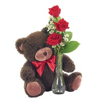 Classic bud vase roses with teddy bear (BF112-11KL)